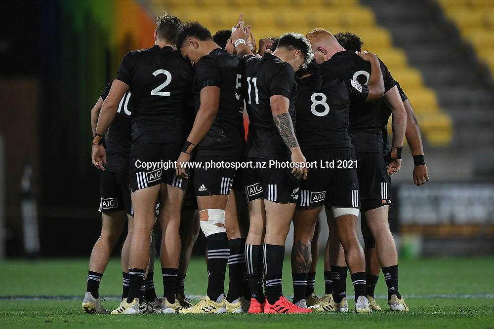 Players huddle in the All Blacks Sevens match, Sky Stadium, Wellington, Sunday, April 11, 2021. Copyright photo: Kerry Marshall / www.photosport.nz