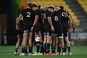 Players huddle in the All Blacks Sevens match, Sky Stadium, Wellington, Sunday, April 11, 2021. Copyright photo: Kerry Marshall / www.photosport.nz