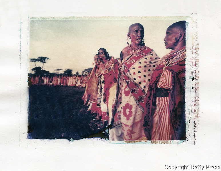 Maasai women gather for Blessing Ceremony every 7 to 10 years.  Southern Kenya<br /> Image size 4x5, Matted 12x10 Edition of 25 <br /> Archival Pigment Print