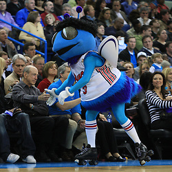 28 January 2009:  New Orleans Hornets mascot HUGO greets fans during a 94-81 win by the New Orleans Hornets over the Denver Nuggets at the New Orleans Arena in New Orleans, LA. The Hornets wore special throwback uniforms of the former ABA franchise the New Orleans Buccaneers for the game as they honored the Bucs franchise as a part of the NBA's Hardwood Classics series. .