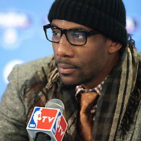 06 October 2010: New York Knicks forward Amare Stoudemire #1 is seen during the press conference following the Minnesota Timberwolves 106-100 victory over the New York Knicks, during 2010 NBA Europe Live, at the POPB Arena in Paris, France.