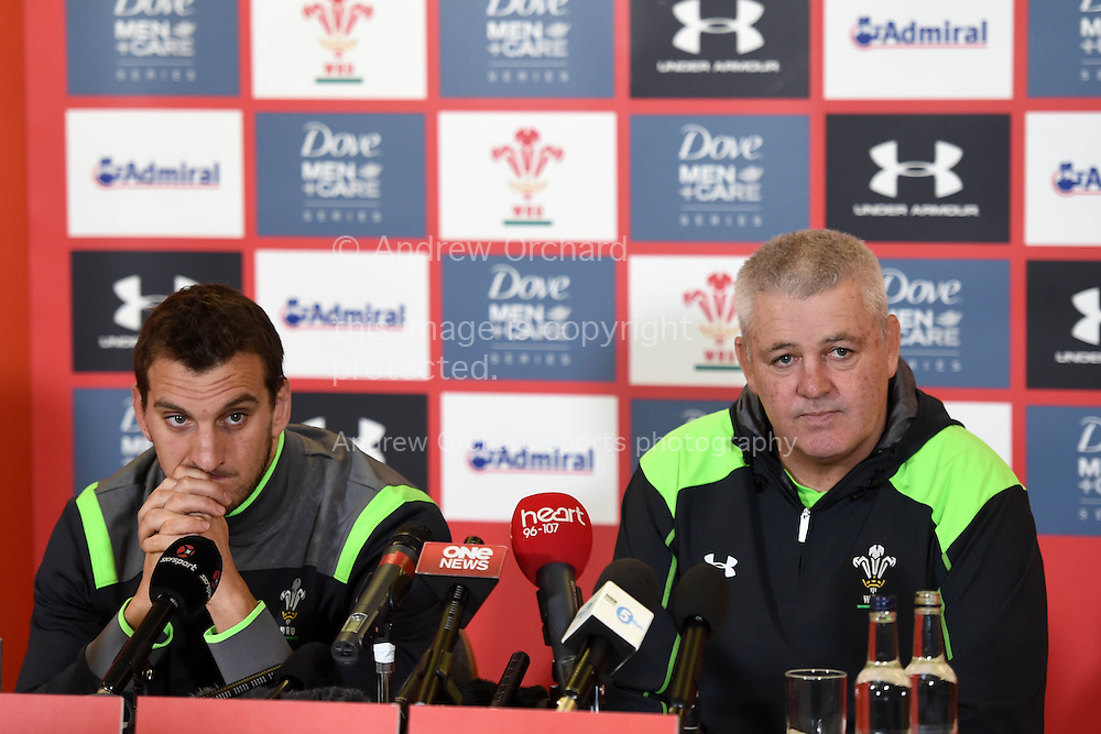 Wales capt Sam Warburton (l) and head coach Warren Gatland ® speak to the press .Wales rugby team training and press conference at the Vale Resort, Hensol , near Cardiff, South Wales on Tuesday 18th November 2014. Wales are looking ahead to their next match against the Allblacks on Saturday.<br /> pic by Andrew Orchard, Andrew Orchard sports photography.