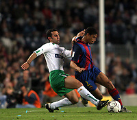 Fotball<br /> Spania 2003/04<br /> Barcelona v Racing Santander<br /> 16. mai 2004<br /> Foto: Digitalsport<br /> NORWAY ONLY<br /> Mikael Reiziger, Barcelona