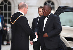 Lord Mayor of the City of London, Charles Bowman greets South African President Cyril Ramaphosa at the Commonwealth Heads of Government banquet at the at Guildhall in London, during the Commonwealth Heads of Government Meeting biennial summit.