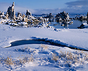 Tufa towers with snow along the shore of Mono Lake, Mono Lake Tufa State Reserve and Mono Basin National Forest Scenic Area, Inyo National Forest, California.