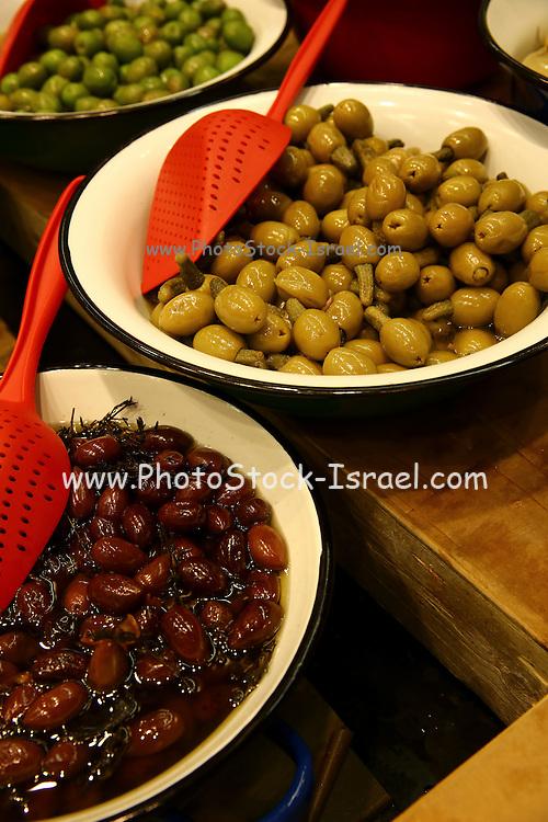 A bowl of black olives