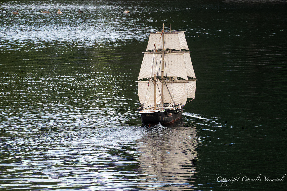 A tall ship on the calm waters of The Sailboat Pond in Central park. Aug. 30, 2020.