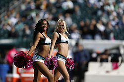 Philadelphia Eagles Cheerleaders perform before the NFL game between the Dallas Cowboys and the Philadelphia Eagles on Sunday, October 20th 2013 in Philadelphia. The Cowboys won 17-3. (Photo by Brian Garfinkel)