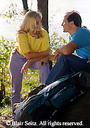 Outdoor recreation, Young Couple Hikers, PA Wilderness, Susquehanna River, PA