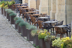 © Licensed to London News Pictures. 08/10/2020. Manchester, UK. Quiet in the outdoor seating for hospitality businesses in Manchester. Ministers are thought to be considering closing large amounts of hospitality in the North of England as early as Monday. Photo credit: Kerry Elsworth/LNP