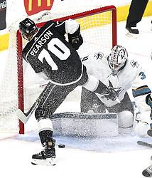 San Jose Sharks  beats Los Angeles Kings 2-1 in NHL hockey game ..Los Angeles Kings' forward Tanner Pearson (L) shoots as San Jose Sharks' goalie Martin Jones defends during a 2017-2018 NHL hockey game in Los Angeles, the United States, on Nov. 12, 2017.  San Jose Sharks won 2-1. (Credit Image: © Zhao Hanrong/Xinhua via ZUMA Wire)