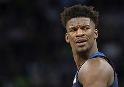 April 23, 2018 - Minneapolis, MN, USA - Minnesota Timberwolves' Jimmy Butler (23) reacts to a call in the third quarter in Game 4 of their series against the Rockets Monday, April 23, 2018 at the Target Center in Minneapolis, Minn. The Rockets won, (Credit Image: © Carlos Gonzalez/TNS via ZUMA Wire)