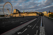 Westminster Bridge is quiet on the eve of teh easing of some of the restrictions. The 'lockdown' continues for the Coronavirus (Covid 19) outbreak in London.