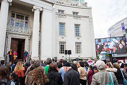 Luton, UK. 15 June, 2019. Cllr Hazel Simmons, Leader of Luton Borough Council, addresses its People's Launch of the 'People Power Passion' programme of events for its Pilot Year of Culture, celebrating the creativity, vibrancy and diversity of Luton. 2019 marks 100 years since the Luton Peace Day riots and the programme will explore the themes of those riots and their impact on the people and places of the town. The council's strategy for the arts, cultural and creative industries includes plans for a bid to be named UK City of Culture in 2025.
