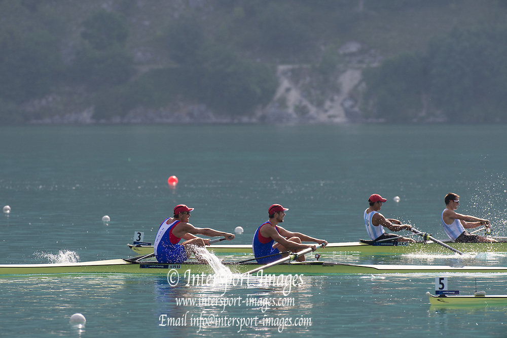 Aiguebelette, FRANCE.  SRB M2- and ARG M2- approaching the line. Sunday Morning B Finals at the  2014 FISA World Cup II, 09:14:39  Sunday  22/06/2014. [Mandatory Credit; Peter Spurrier/Intersport-images]