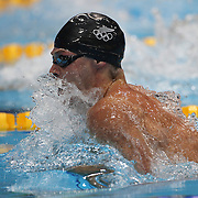 Glen Snyders, New Zealand, in action during the Men's 100m Breaststroke  heats during the swimming heats at the Aquatic Centre at Olympic Park, Stratford during the London 2012 Olympic games. London, UK. 28th July 2012. Photo Tim Clayton