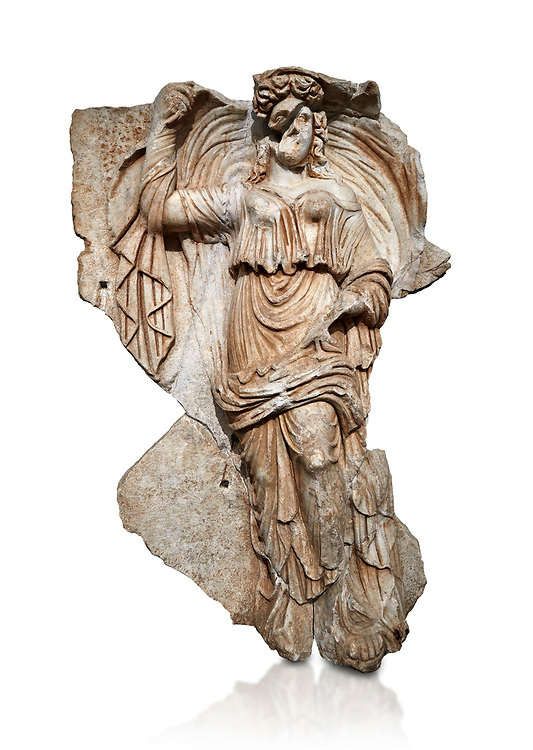 Roman Sebasteion relief sculpture of the goddess Herma (day), Aphrodisias Museum, Aphrodisias, Turkey.  Against a white background.<br /> <br /> Goddess  Herma or Day steadies a dramatically billowing cloak that frames her head. The motif , also visible on the Okeanos relief, indicates flying, floating and divine epiphany - the appearance of gods to mortals. Day would be paired with night : together they signify the eternity of the Roman imperial order. .<br /> <br /> If you prefer to buy from our ALAMY STOCK LIBRARY page at https://www.alamy.com/portfolio/paul-williams-funkystock/greco-roman-sculptures.html . Type -    Aphrodisias     - into LOWER SEARCH WITHIN GALLERY box - Refine search by adding a subject, place, background colour, museum etc.<br /> <br /> Visit our ROMAN WORLD PHOTO COLLECTIONS for more photos to download or buy as wall art prints https://funkystock.photoshelter.com/gallery-collection/The-Romans-Art-Artefacts-Antiquities-Historic-Sites-Pictures-Images/C0000r2uLJJo9_s0