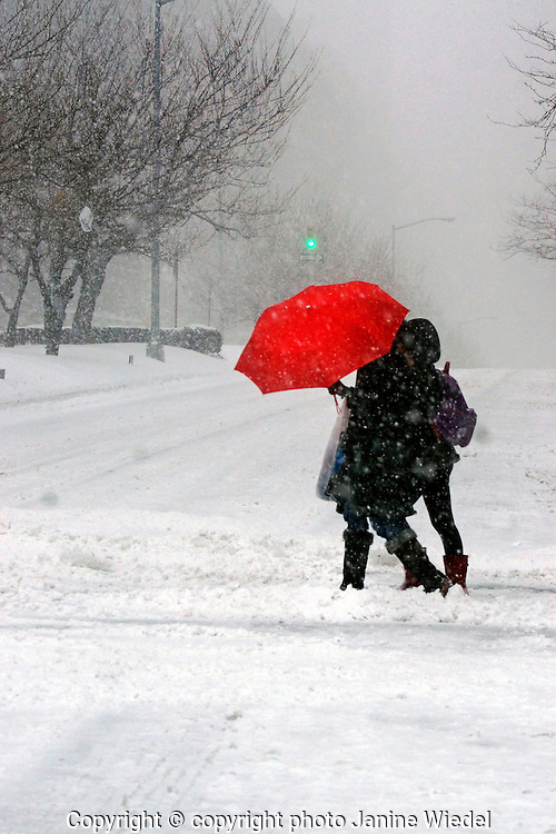 People with red umbrella in Snow storm on Park Avenue New York City