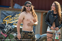 Brad Gregory at the Sled Sportster Show at the Buffalo Chip during the annual Sturgis Black Hills Motorcycle Rally. SD. USA. Tuesday August 8, 2017. Photography ©2017 Michael Lichter.