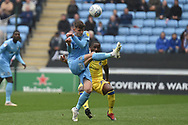 Coventry City midfielder Tom Bayliss (20) clears his lines during the EFL Sky Bet League 1 match between Coventry City and Bristol Rovers at the Ricoh Arena, Coventry, England on 7 April 2019.