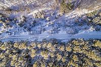 Aerial view of logging under the snow in Liikva, Estonia.