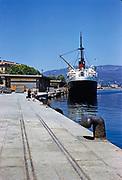 Ferry ship, 'Commandant Quere' 1948-68, African and Mediterranean Services  CGT Fleet,  Compagnie Generale Transatlantique, port of Calvi, Corsica, France, 1950s