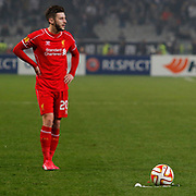 Liverpool's Adam Lallana during the UEFA Europa League Round of 32 second leg soccer match Besiktas between Liverpool at Ataturk Olimpiyat stadium in Istanbul Turkey on Thursday February 26, 2015. Photo by Aykut AKICI/TURKPIX