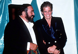Diana, Princess of Wales chats to Luciano Pavarotti at a concert in Hyde Park in London on July 30, 1991.
