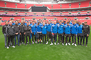 The squad pose on the Wembley pitch Forest Green Rovers Football Club Familiarisation visit to Wembley Stadium, London, England on 10 May 2016. Photo by Shane Healey.