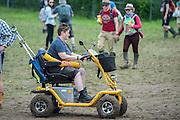All terain disability scooter - The 2016 Glastonbury Festival, Worthy Farm, Glastonbury.