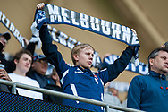 Victory fans at the Hyundai A-League Round 2 soccer match between Melbourne Victory and Perth Glory at AAMI Park in Melbourne.