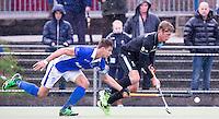 UTRECHT- Hockey - Duel tussen Sander de Wijn (l)  van Kampong en Floris van der Linden van HGC  tijdens de hoofdklasse competitiewedstrijd tussen de mannen van Kampong en HGC (2-1). COPYRIGHT KOEN SUYK
