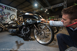 """Custom 2015 Harley-Davidson 103"""" Road Glide from Giud Motorcycles at EICMA, the largest international motorcycle exhibition in the world. Milan, Italy. November 19, 2015.  Photography ©2015 Michael Lichter."""