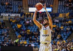 Jan 21, 2019; Morgantown, WV, USA; West Virginia Mountaineers guard Jermaine Haley (10) shoots a three pointer during the second half against the Baylor Bears at WVU Coliseum. Mandatory Credit: Ben Queen-USA TODAY Sports