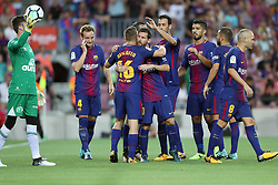 August 7, 2017 - Barcelona, Spain - Gerard Deulofeu of FC Barcelona celebrates with his teammates after scoring a goal during the 2017 Joan Gamper Trophy football match between FC Barcelona and Chapecoense on August 7, 2017 at Camp Nou stadium in Barcelona, Spain. (Credit Image: © Manuel Blondeau via ZUMA Wire)