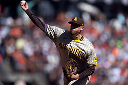 San Diego Padres starting pitcher Joe Musgrove (44) delivers a pitch against the San Francisco Giants during the second inning of a baseball game, Saturday, Oct. 2, 2021, in San Francisco. (AP Photo/D. Ross Cameron)