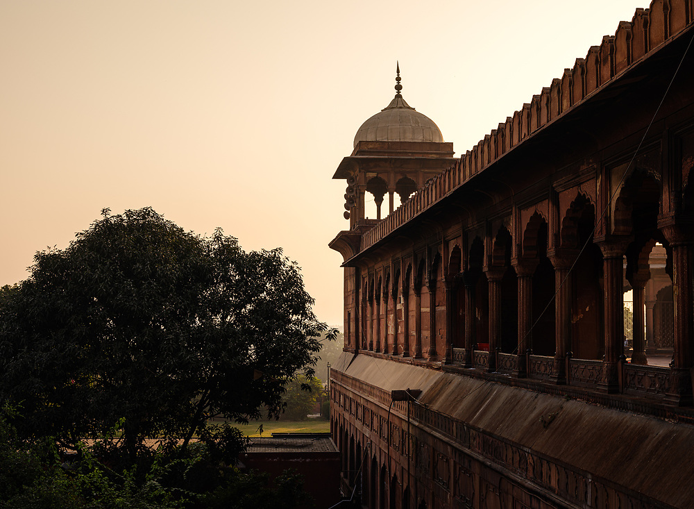 NEW DELHI, INDIA - CIRCA NOVEMBER 2018:  Exterior detail of the Jama Masjid Mosque in Delhi. Constructed in red sandstone and white marble the mosque is a popular tourist attraction in Delhi.