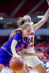 NORMAL, IL - January 05: Abby Feit defended by Megan Talbot during a college women's basketball game between the ISU Redbirds and the Purple Aces of University of Evansville January 05 2020 at Redbird Arena in Normal, IL. (Photo by Alan Look)