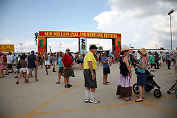 05 May 2012. New Orleans, Louisiana,  USA. .New Orleans Jazz and Heritage Festival. .Welcoming sign as one enters the Fairgrounds..Photo; Charlie Varley.