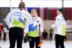 Ana Smolej, Nika Cerne and Nika Svetina during European Curling Championship C-division between national team of Slovenia and Lithuania on April 29, 2016 in Ledena dvorana Zalog, Ljubljana, Slovenia. Photo By Urban Urbanc / Sportida