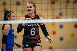 Iris Vos #6 of Talent Team in action during the first league match in the corona lockdown between Talentteam Papendal vs. Sliedrecht Sport on January 09, 2021 in Ede.
