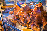 22 OCTOBER 2012 - HAT YAI, THAILAND:      Grilled pigs' heads for sale in the market in Hat Yai. Hat Yai is the largest in southern Thailand. It is an important commercial center and tourist destination. It is especially popular with Malaysian, Singaporean and Chinese tourists.     PHOTO BY JACK KURTZ