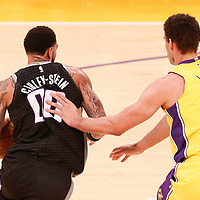 09 January 2018: Sacramento Kings center Willie Cauley-Stein (00) drives past Los Angeles Lakers center Brook Lopez (11) during the LA Lakers 99-86 victory over the Sacramento Kings, at the Staples Center, Los Angeles, California, USA.