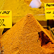 Close up of spices  available for sale at the famous Spice Bazaar (also known as the Egyption Bazaar) in Istanbul, Turkey.