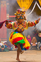 Dance of the Eight Kinds of Spirits, Paro Tsechu (festival), Paro Dzong, Paro, Bhutan