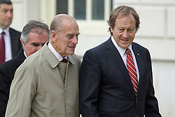 "© Licensed to London News Pictures. 18/10/2013. The Duke of Edinburgh and Bill Muirhead - agent general for South Australia. The world's oldest remaining clipper ship City of Adelaide is in Greenwich ahead of a renaming ceremony with the Duke of Edinburgh. She will then be moved to Australia despite attempts by heritage campaigners to keep her in the UK. Her new home in an Australian backwater has been controversial with one Australian MP saying this week she will be ""out of sight, out of mind"". Her visit to Greenwich sees her briefly reunited with the famous clipper Cutty Sark, loosely described as a ""sister ship"". Credit : Rob Powell/LNP"