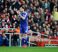 Chelsea's Cesc Fabregas applauds the fans as he is substituted<br /> <br /> Photographer Ashley Western/CameraSport<br /> <br /> Football - Barclays Premiership - Arsenal v Chelsea - Sunday 26th April 2015 - Emirates Stadium - London<br /> <br /> © CameraSport - 43 Linden Ave. Countesthorpe. Leicester. England. LE8 5PG - Tel: +44 (0) 116 277 4147 - admin@camerasport.com - www.camerasport.com