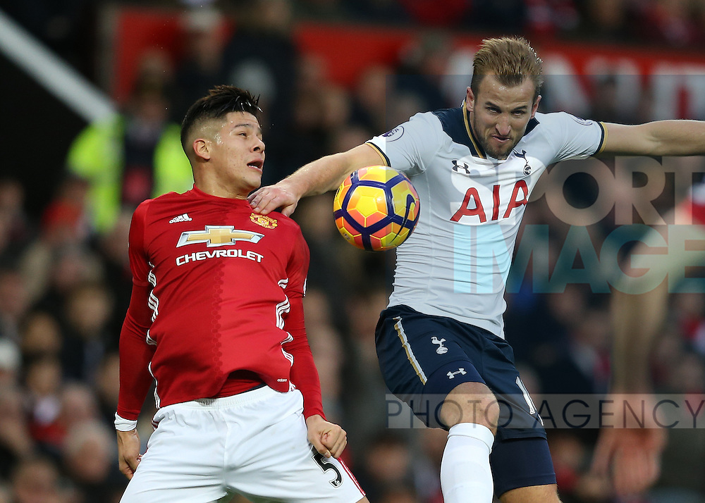 Marcos Rojo of Manchester United and Harry Kane of Tottenham during the English Premier League match at Old Trafford Stadium, Manchester. Picture date: December 11th, 2016. Pic Simon Bellis/Sportimage
