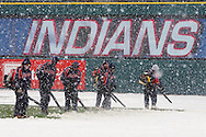 Snow delayed the home opener of the Cleveland Indians/Seattle Mariners contest at Jacobs Field, April 6, 2007