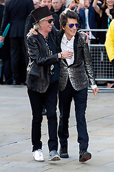 © Licensed to London News Pictures. 04/04/2016. KEITH RICHARDS and RONNIE WOODS attend The Rolling Stones Exhibition Private at The Saatchi Gallery. London, UK. Photo credit: Ray Tang/LNP